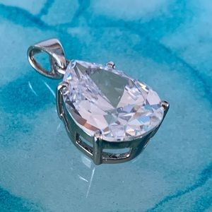 Large pear shaped Cubic Zirconia Pendant -Sterling